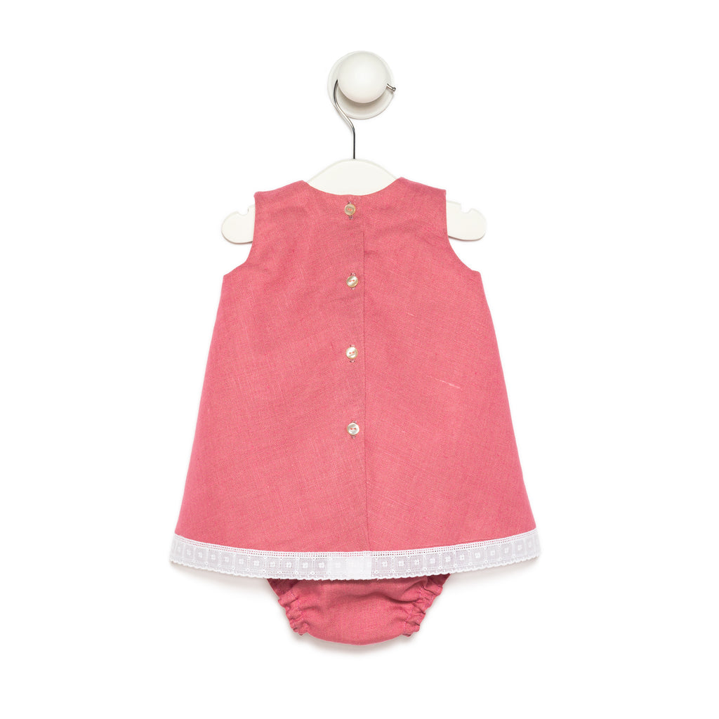 Guava Linen and Baby Girl Dress with Cotton Lace