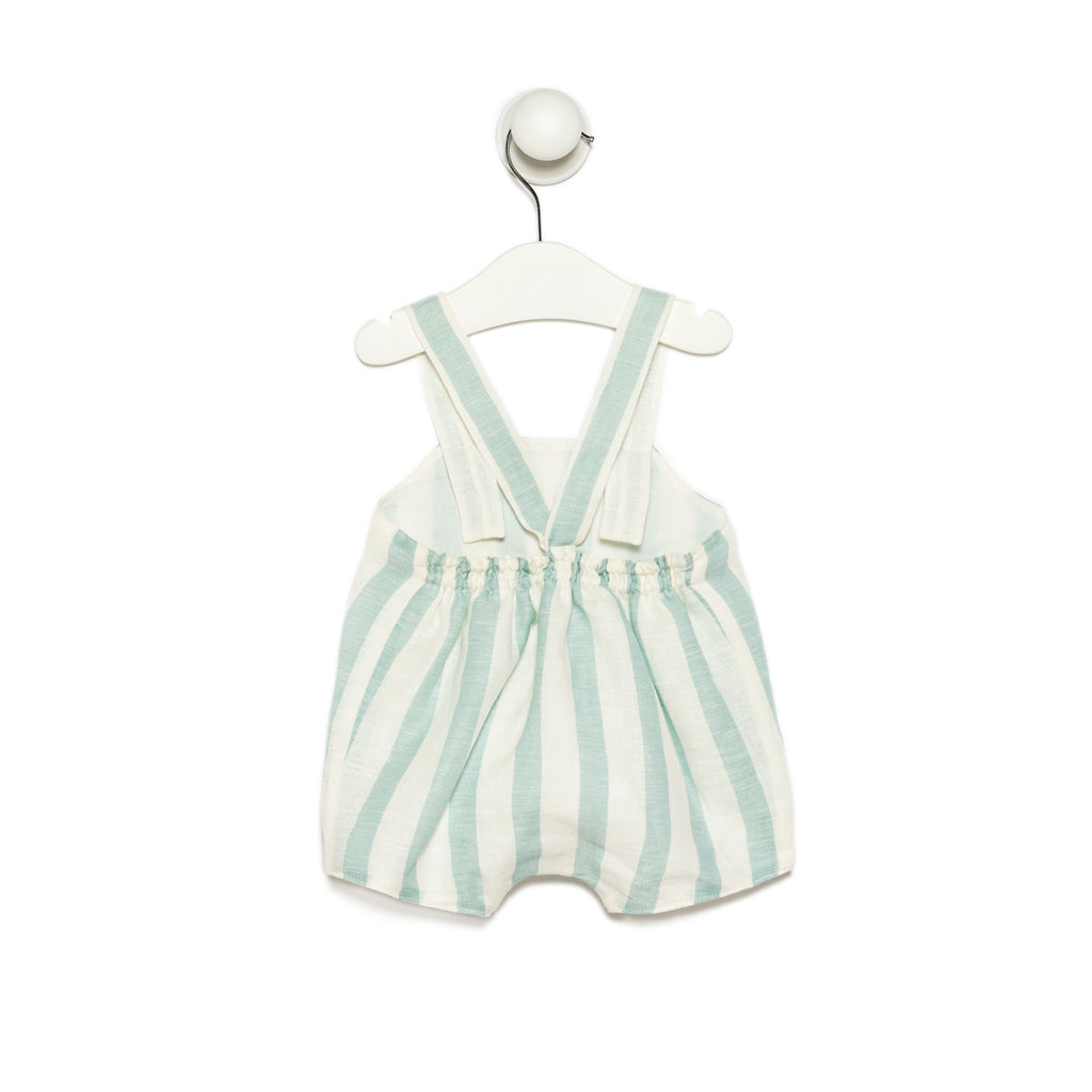 White Piqué Cotton Baby Girl Short Dress with cotton lace and pink satin ribbons