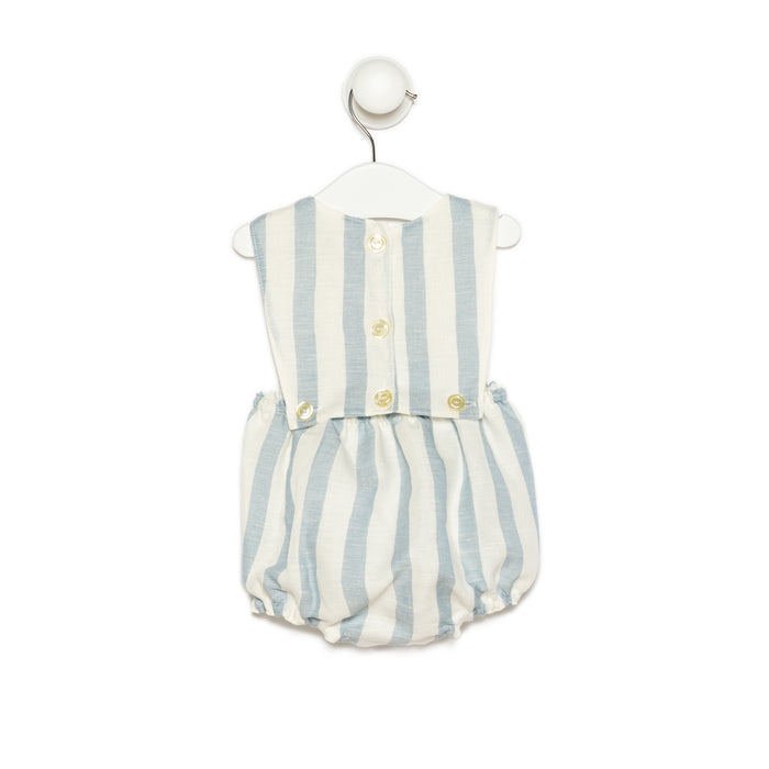 White and Thick Blue Lines Linen Romper