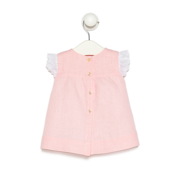 Baby Pink Linen Dress With Lace Collar and Sleeves