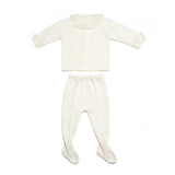 Ivory lace collar jersey & leggings, two piece knitted baby set