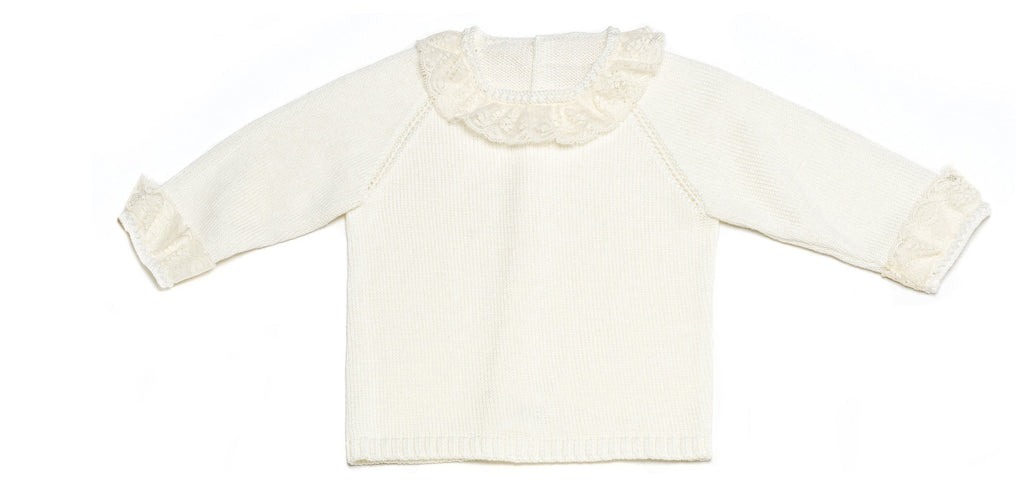 Ivory Baby Girl Knitted Sweater with Lace Collar and Cuffs