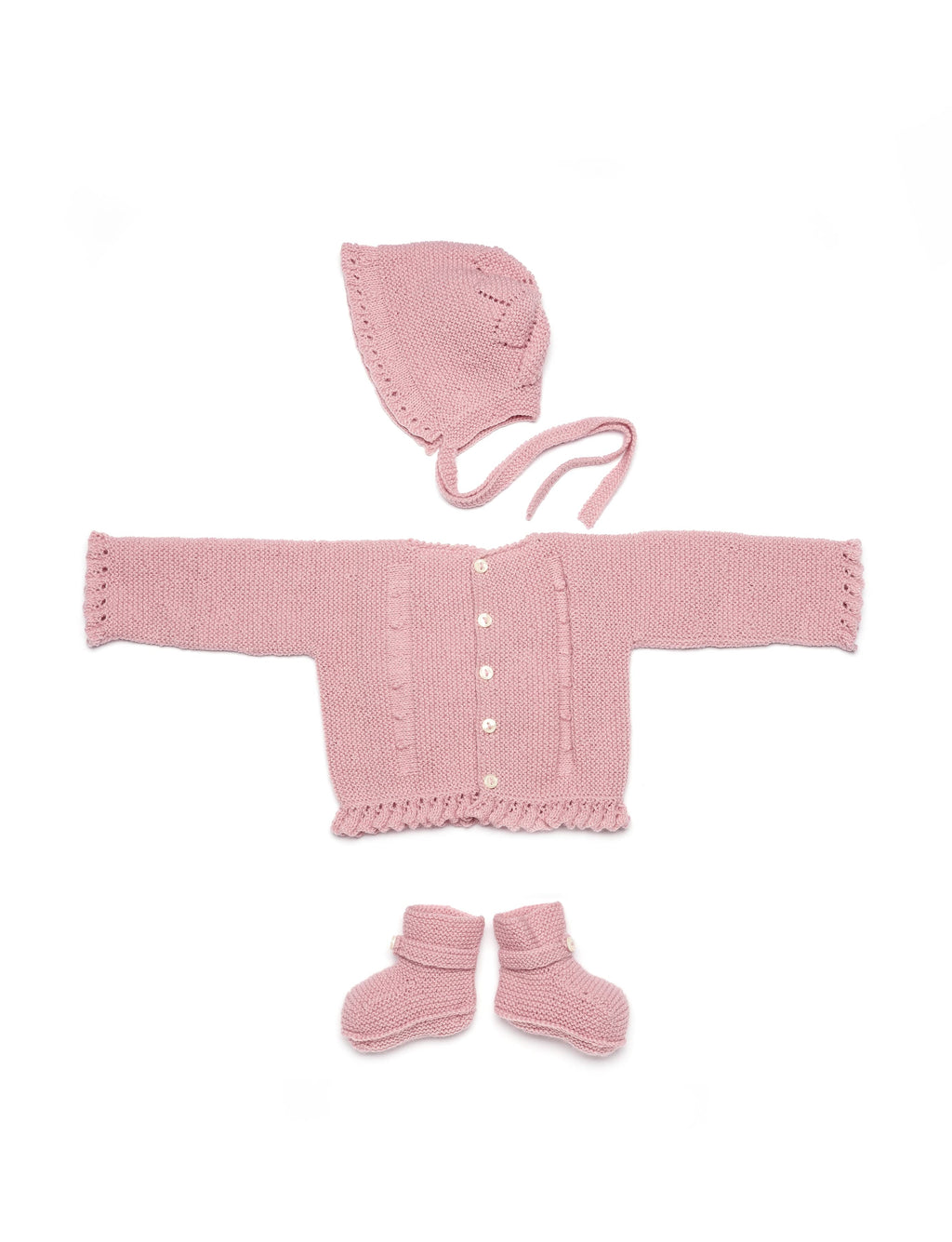 Guava Pink Wool Newborn Knitted Set