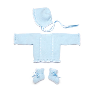 Blue newborn knitted set in wool
