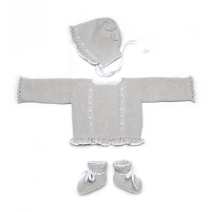 Grey Wool Newborn Knitted Set