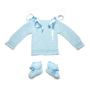 Blue Perlé Cotton Knitted Set