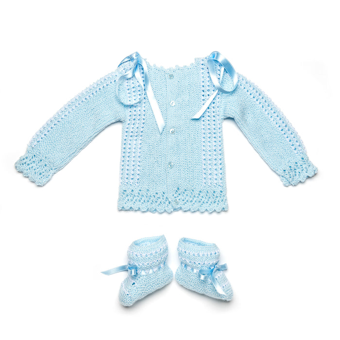 Blue newborn perlé cotton knitted set