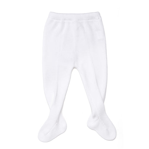 White Knitted Cotton Leggings