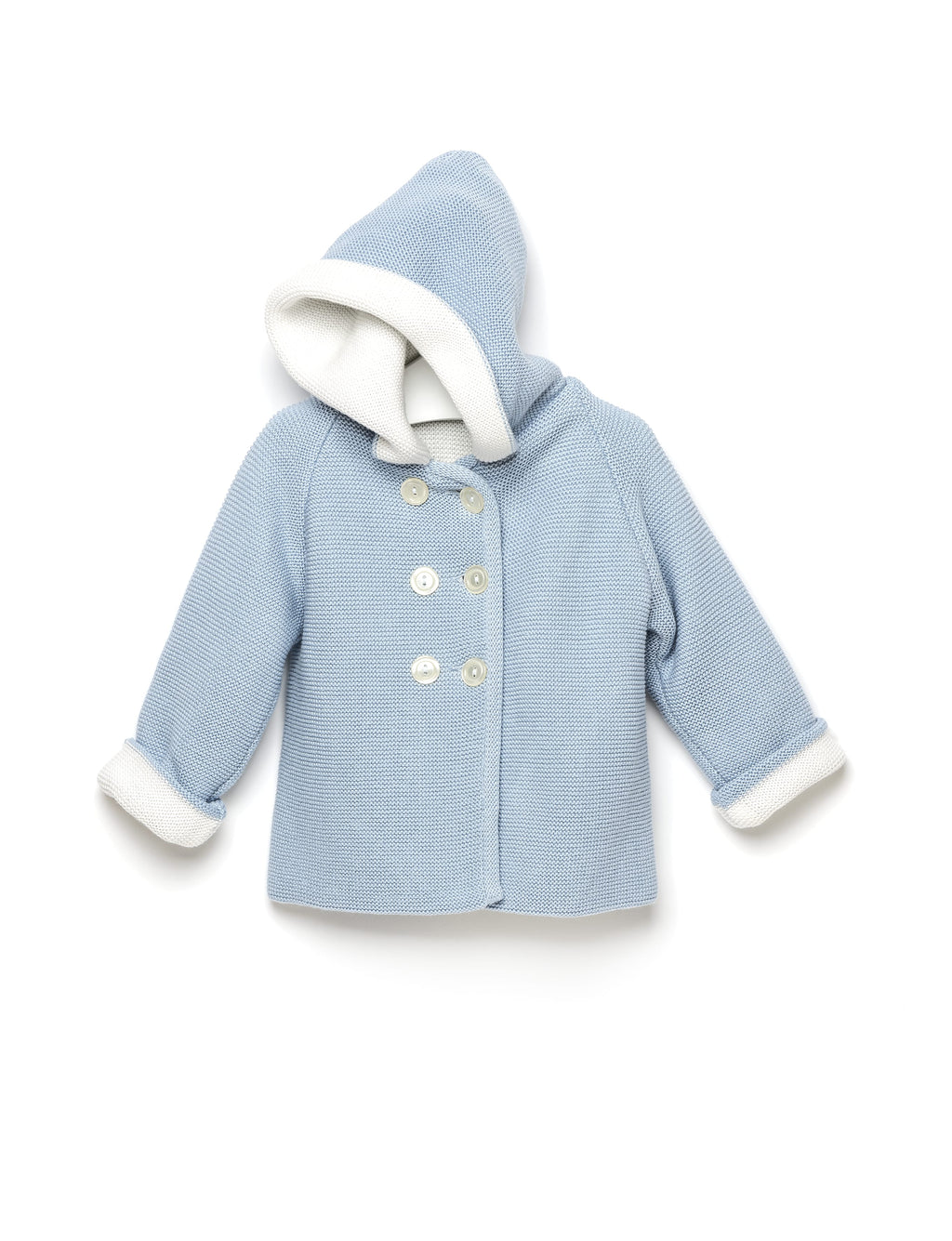 Blue and White Hooded Coat