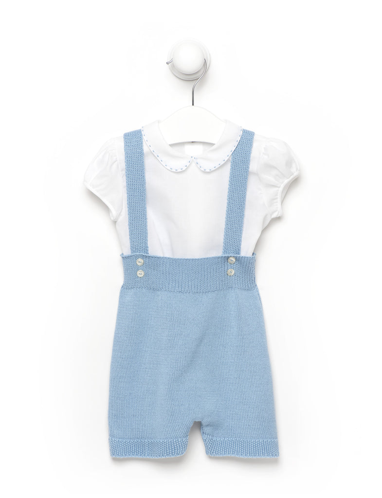 Baby Boy Blue Knitted Romper Outfit