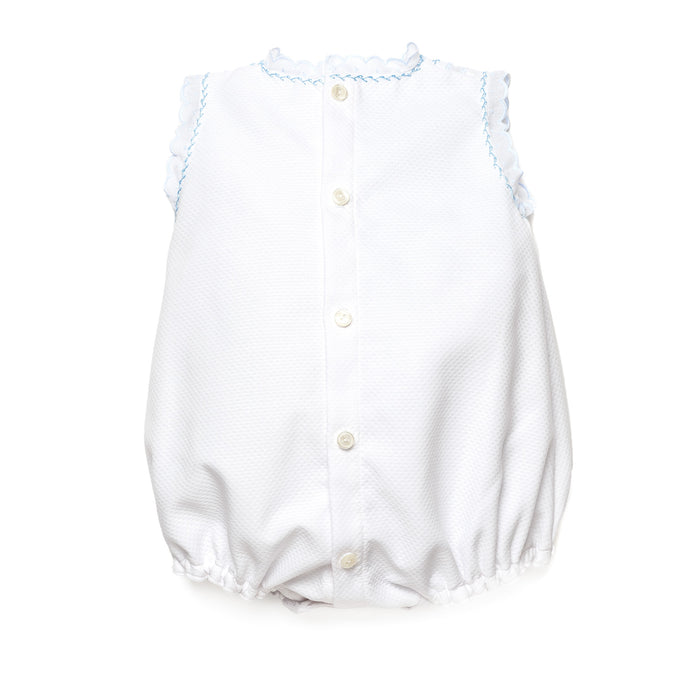 Baggy piqué baby romper with lace and blue threading detail