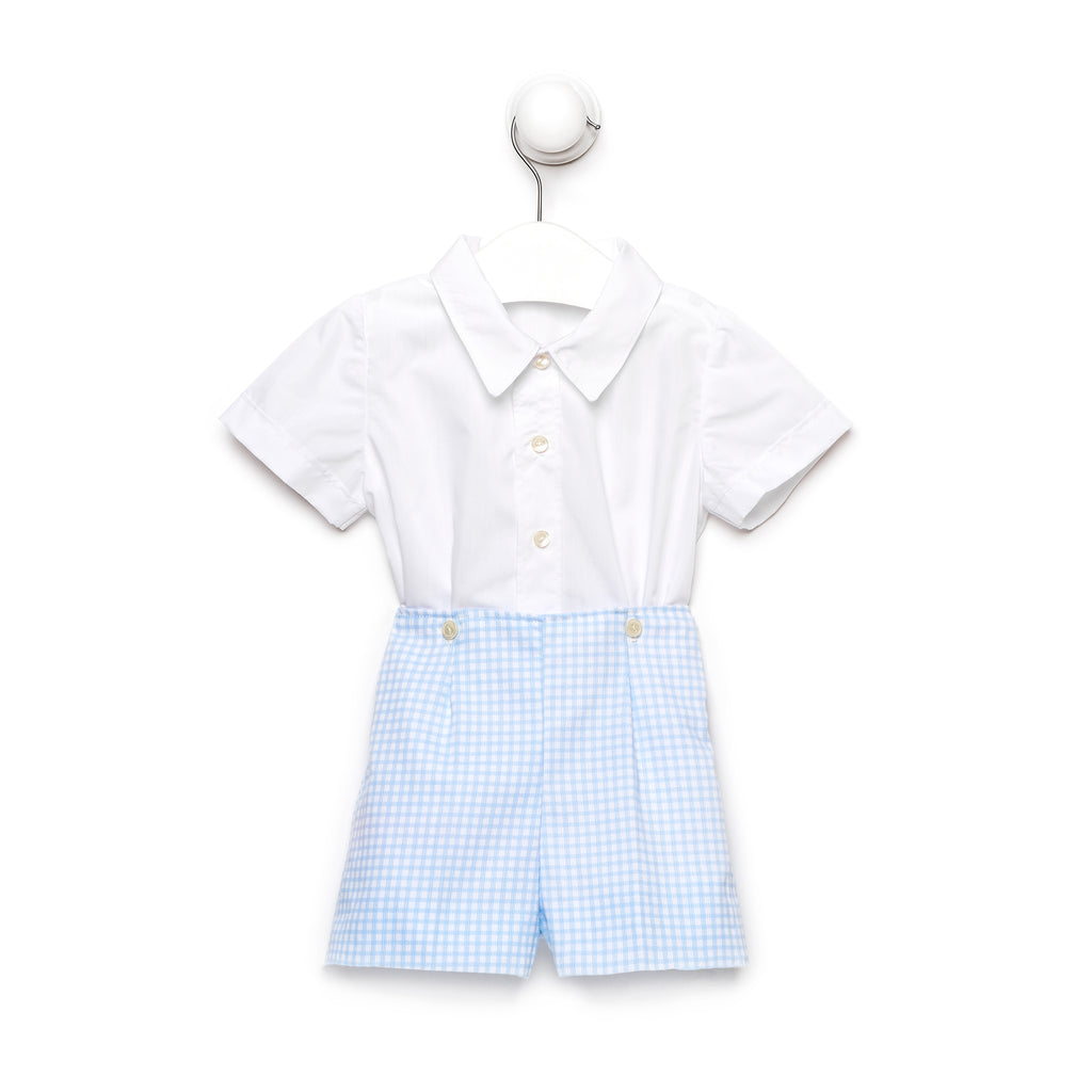 Baby Boy Button On Suit Set in Light Blue Square