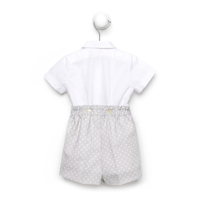 Grey polka dot baby boy button on suit