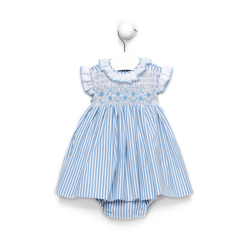 Blue Stripe Dress With Smocked Flower Details and Bloomers