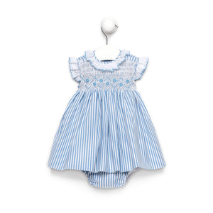 Blue stripe baby girl dress with smocked flower details and bloomers