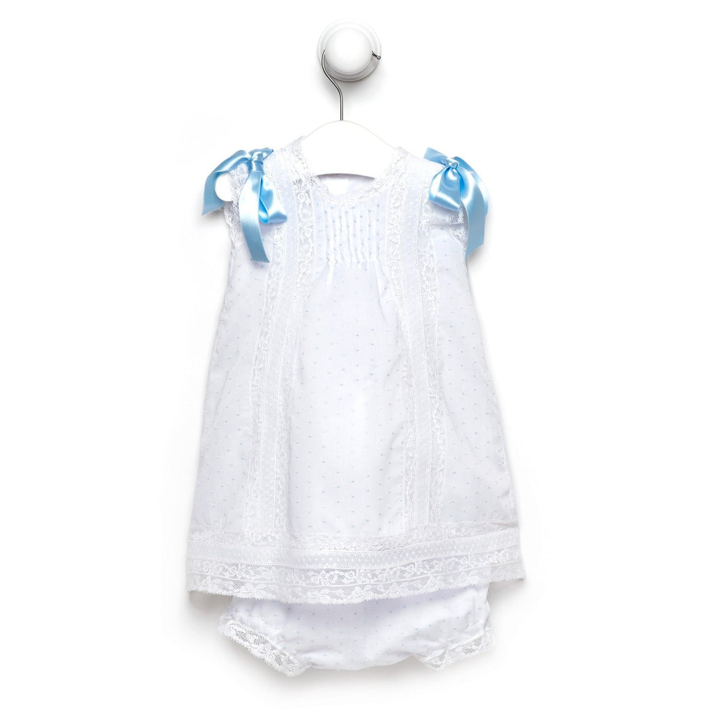 Blue baby girl plumetis dress with bloomers