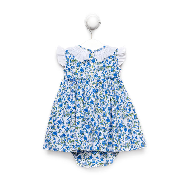 Blue Flower Dress With Tuck Fabric Details And Bloomers