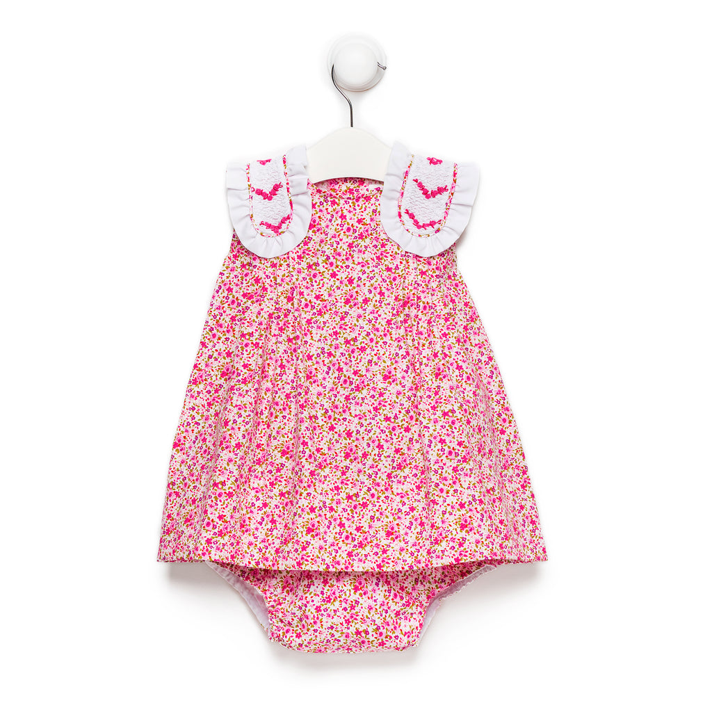 "Pink floral ""Torero"" dress with bloomers"