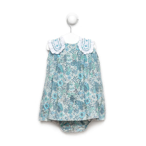 Blue Floral Torero Dress With Bloomers