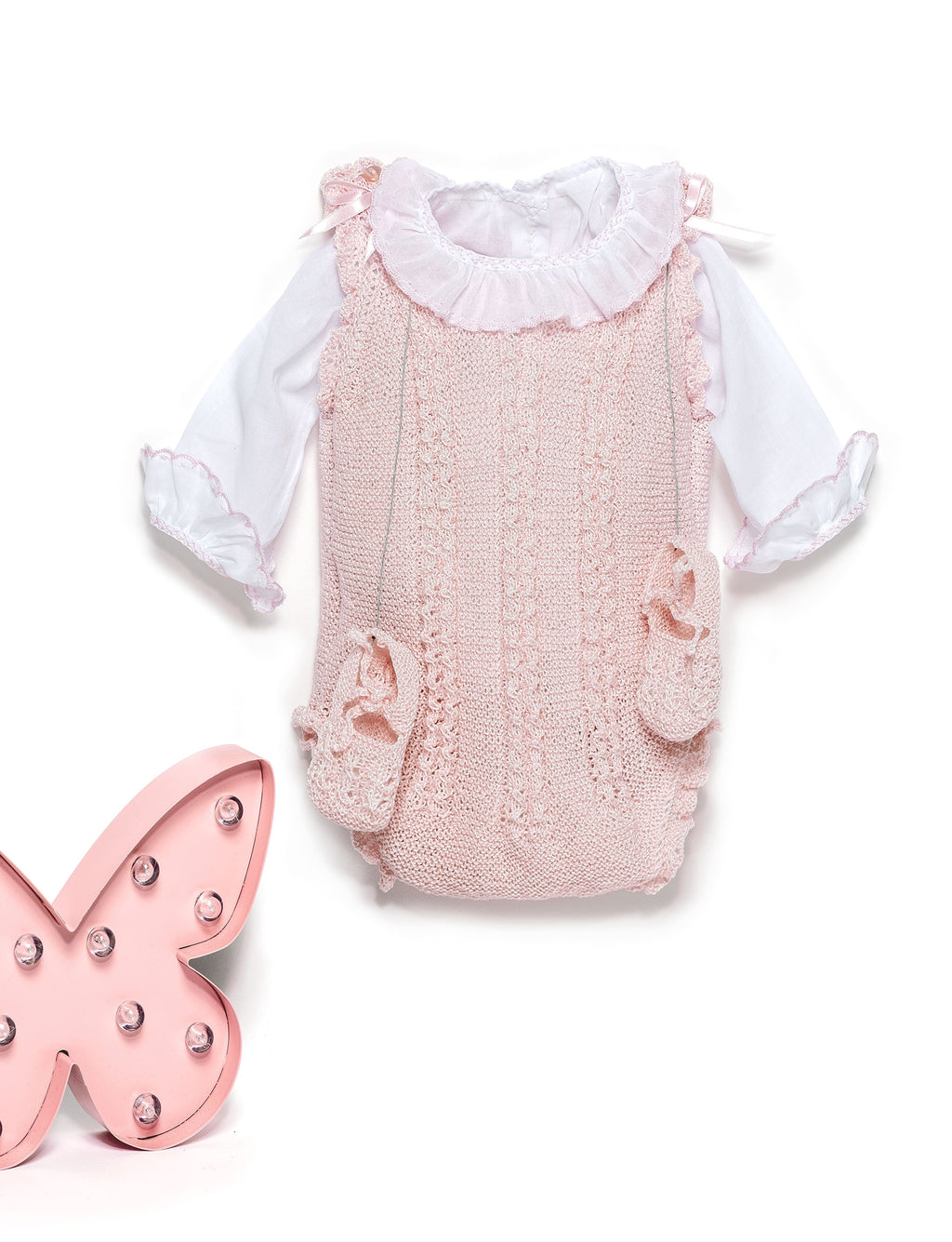 Pink newborn sleevless bodysuit and shoes set in Perlé Cotton