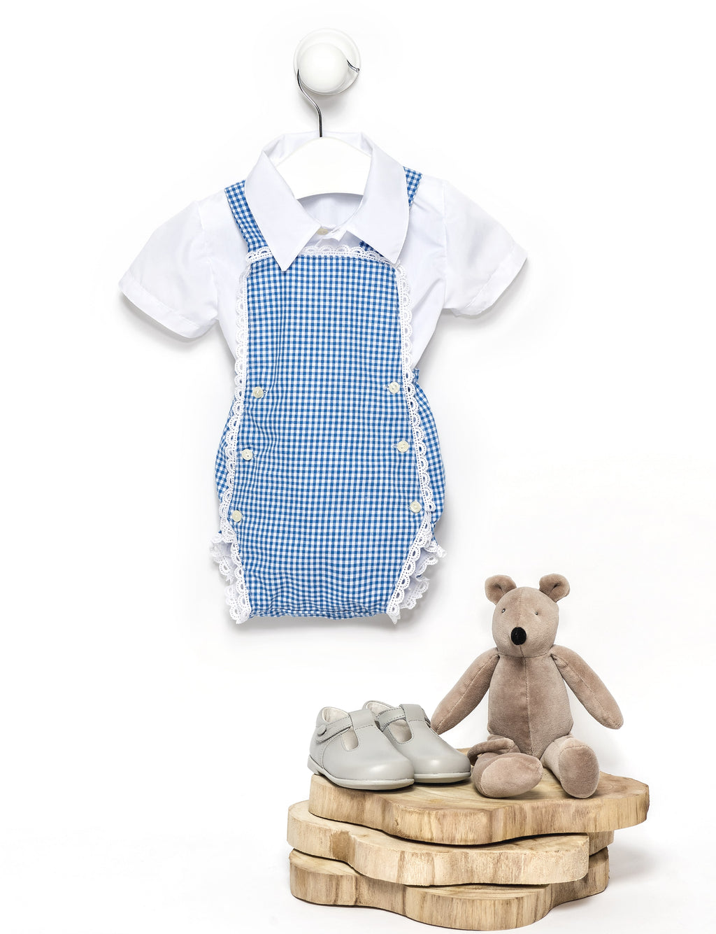 Blue baby boy cotton vichy square romper