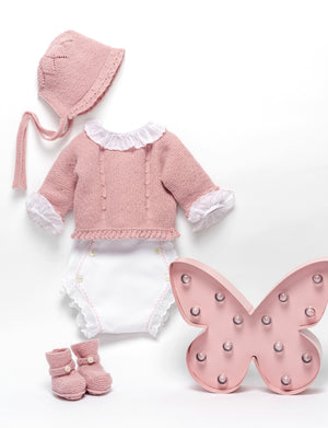Guava pink newborn knitted set in wool