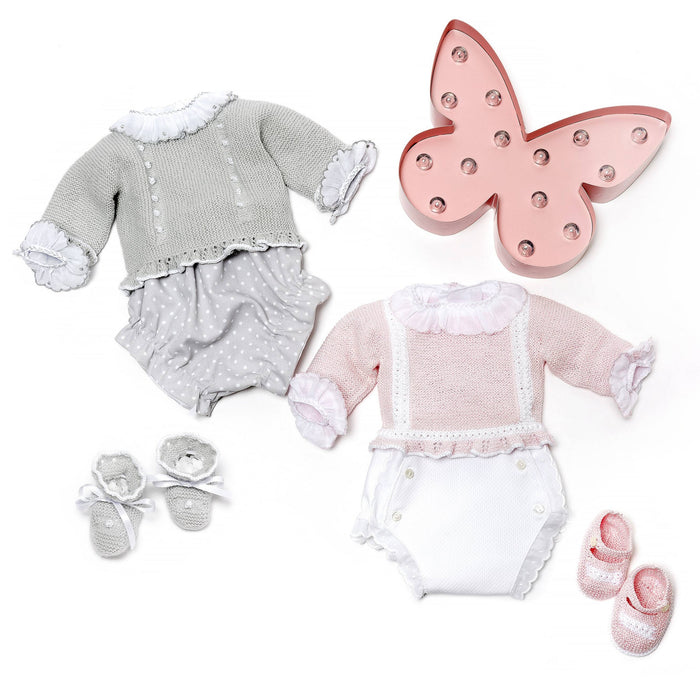 Pink knitted set in perlé cotton