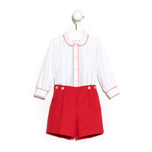 Red Cotton Pique Trousers With Long Sleeve Shirt