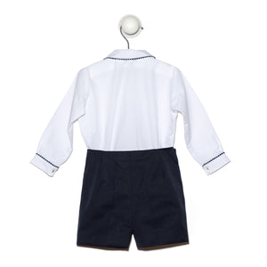 Baby boy winter set - Long sleeve white shirt and navy short pants