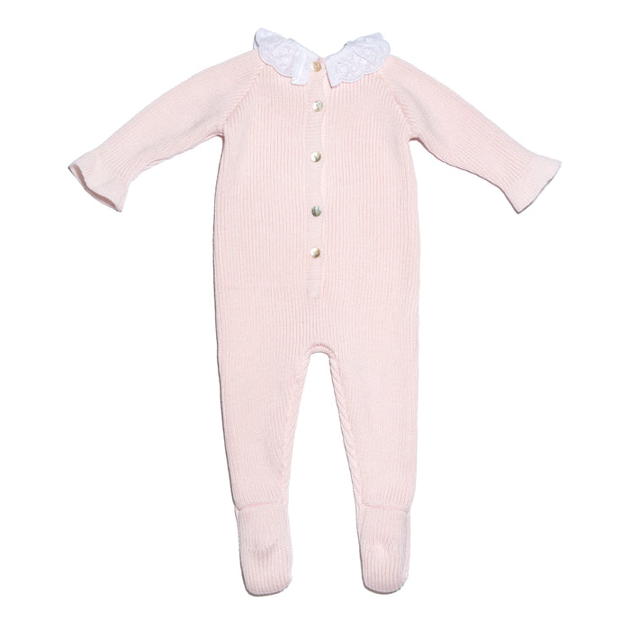 Pink knitted baby girl wool onesie with frilled collar