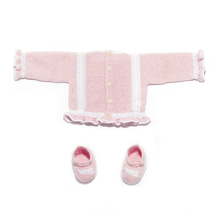 Pink Perlé Cotton Knitted Set