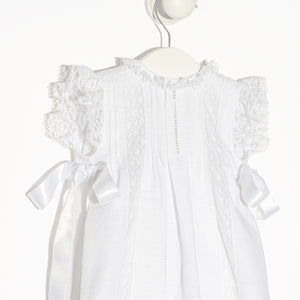 White Mallorca linen Christening gown with bonnet and bloomers