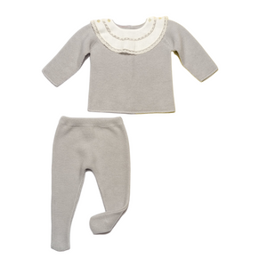 Grey two piece knitted baby set