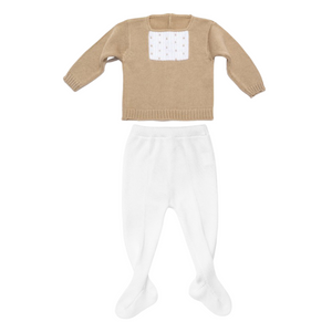 White and beige knit baby set