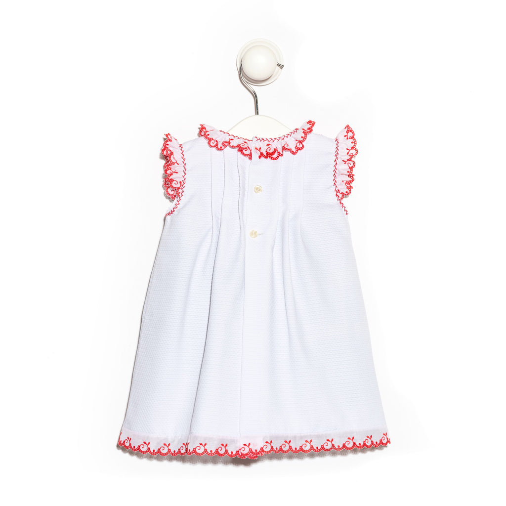 Cotton Piqué Dress with intertwined satin ribbon and red cotton lace