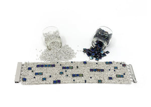 Silver and Blue Tilas Beading Kit
