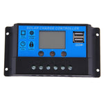 30A 12V/24V Solar Controller LCD Solar Panel Regulator Charge Controller Dual USB Port