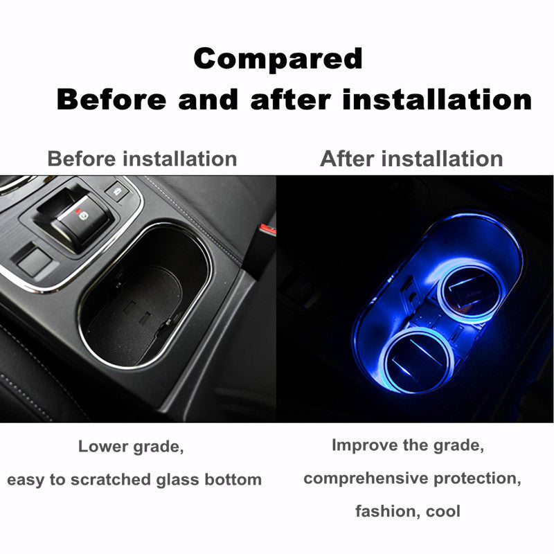 Solar Cup Holder Bottom Pad LED Light Cover Trim Atmosphere Lamp