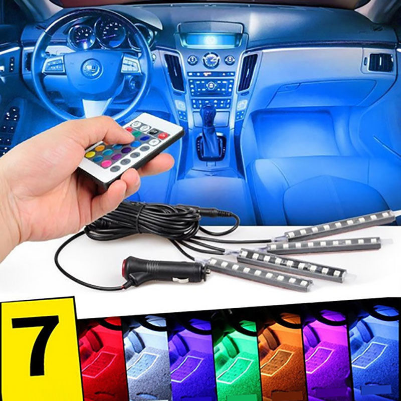 4Pcs 12V Car RGB LED Strip Light 5050SMD Car Remote Control Flexible Colorful Atmosphere