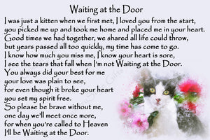 Black and White Cat Rainbow Bridge Memorial Waiting at the Door verse