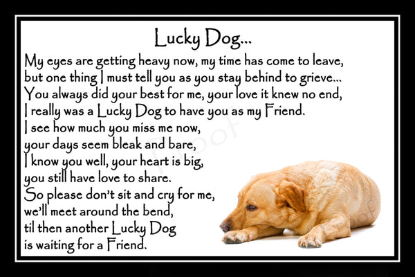 Golden Labrador Pet Dog Memorial Print