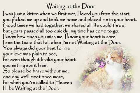 Ginger Cat Rainbow Bridge Pet Memorial Waiting at the Door verse