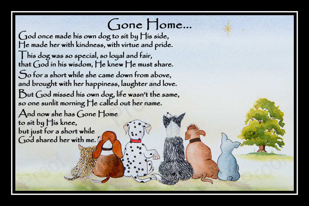 Pet Dog Memorial Print Rainbow Bridge Gift