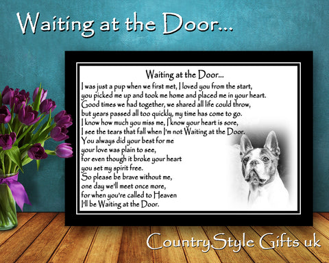 Boston Terrier Pet Dog Memorial Gift Waiting at the Door Print