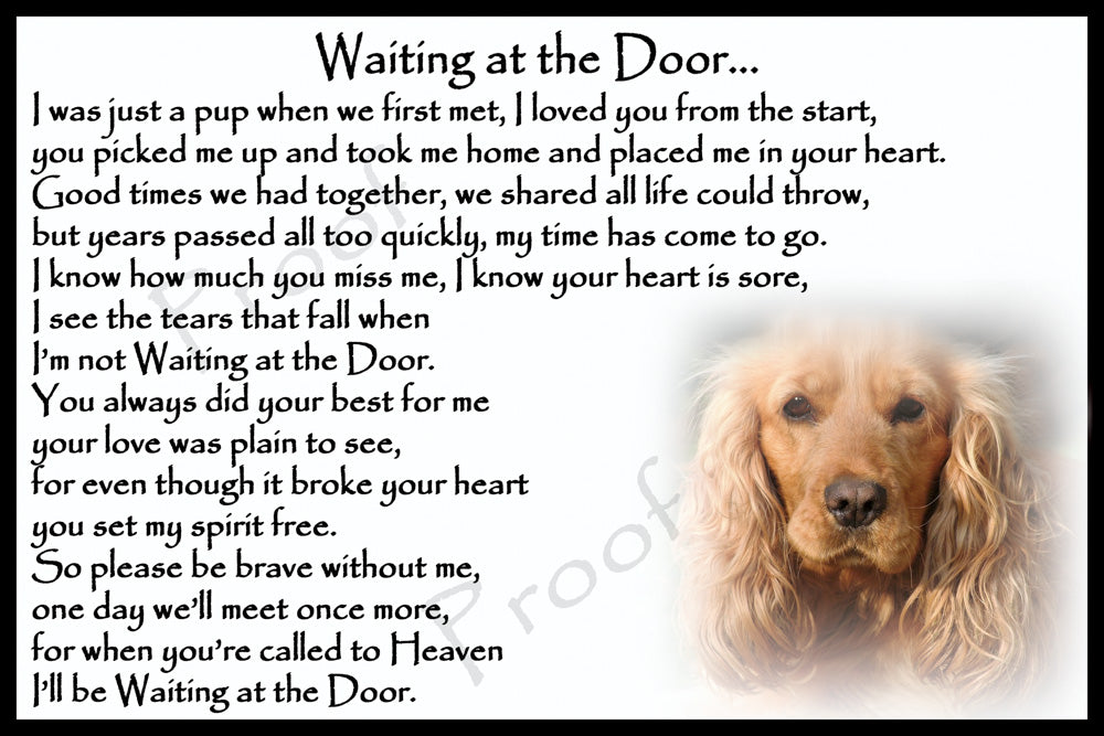 Golden Cocker Spaniel Pet Dog Memorial Flexible Fridge Magnet Waiting at the Door Gift