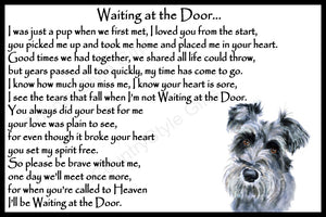 Schnauzer Pet Dog Memorial Waiting at the Door Gift