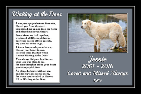 Personalised Pet Dog Memorial Print Waiting at the Door