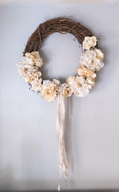 Tea Dyed Floral Wreath