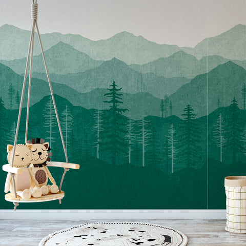 e444886bbf2b Blue Ombré Mountain Mural Removable Wallpaper by Wallspruce