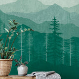 Teal Green Ombré Mountain Mural | W1076